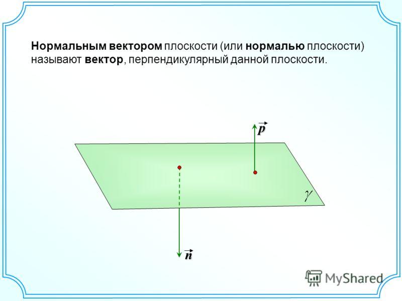 Нормальным вектором плоскости (или нормалью плоскости) называют вектор, перпендикулярный данной плоскости.p n