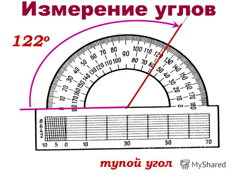 Измерение углов 122 о тупой угол