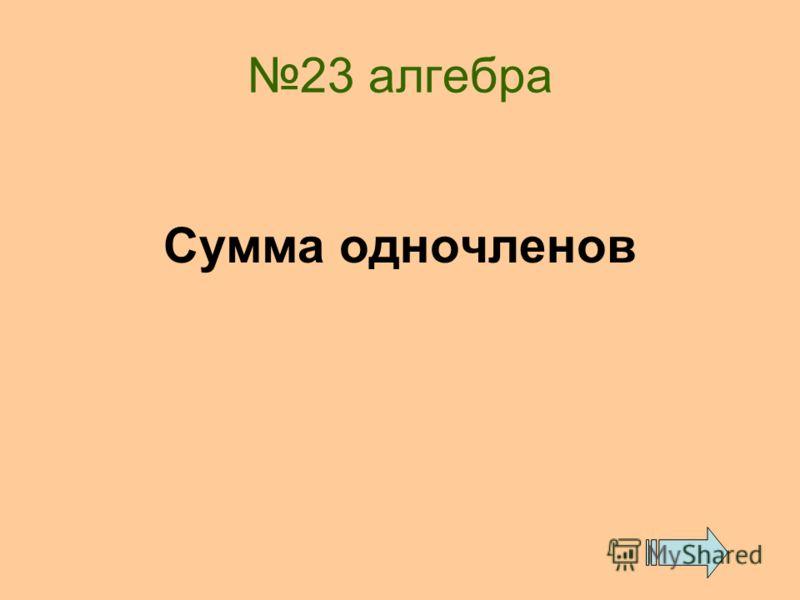 23 алгебра Сумма одночленов