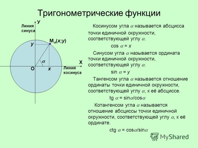 Тригонометрические функции Косинусом угла называется абсцисса точки единичной окружности, соответствующей углу. cos = x Синусом угла называется ордината точки единичной окружности, соответствующей углу. sin = y Тангенсом угла называется отношение орд