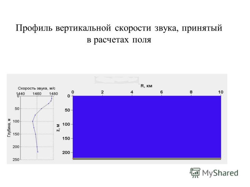 Профиль вертикальной скорости звука, принятый в расчетах поля