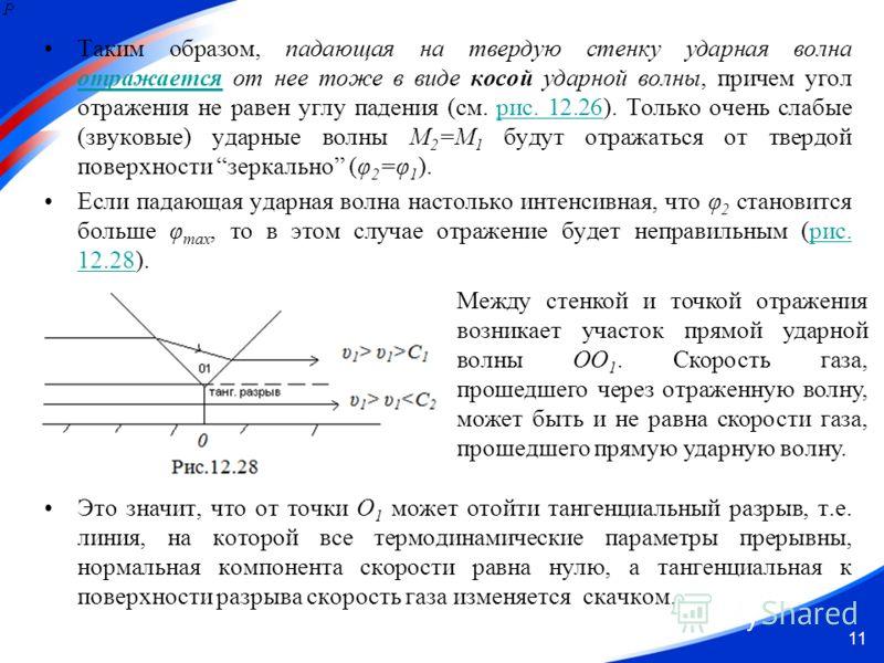 11 Таким образом, падающая на твердую стенку ударная волна отражается от нее тоже в виде косой ударной волны, причем угол отражения не равен углу падения (см. рис. 12.26). Только очень слабые (звуковые) ударные волны М 2 =М 1 будут отражаться от твер