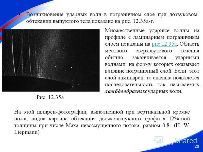 Возникновение ударных волн в пограничном слое при дозвуковом обтекании выпуклого тела показано на рис. 12.35а-г. 20 Рис. 12.35а Множественные ударные волны на профиле с ламинарным пограничным слоем показаны на рис.12.35а. Область местного сверхзвуков