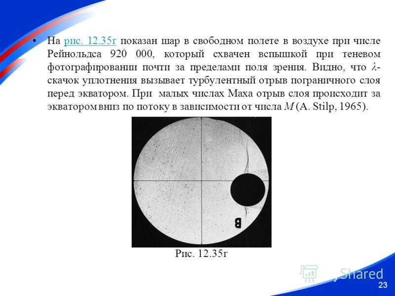 На рис. 12.35г показан шар в свободном полете в воздухе при числе Рейнольдса 920 000, который схвачен вспышкой при теневом фотографировании почти за пределами поля зрения. Видно, что λ- скачок уплотнения вызывает турбулентный отрыв пограничного слоя