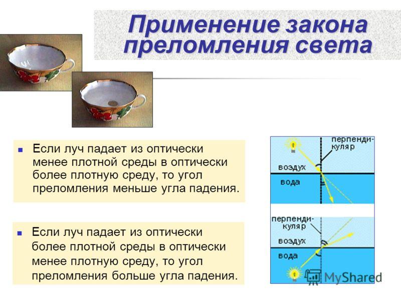 Применение закона преломления света Если луч падает из оптически менее плотной среды в оптически более плотную среду, то угол преломления меньше угла падения. Если луч падает из оптически более плотной среды в оптически менее плотную среду, то угол п