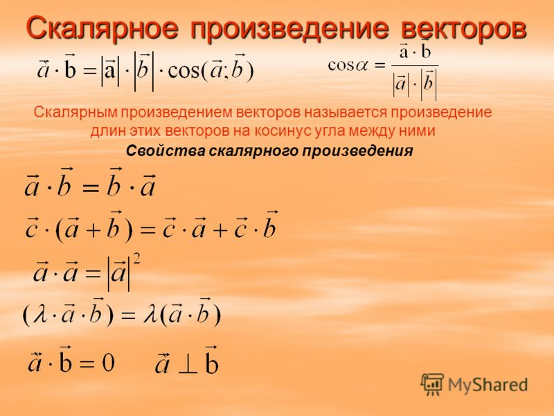 Скалярное произведение векторов Скалярным произведением векторов называется произведение длин этих векторов на косинус угла между ними Свойства скалярного произведения