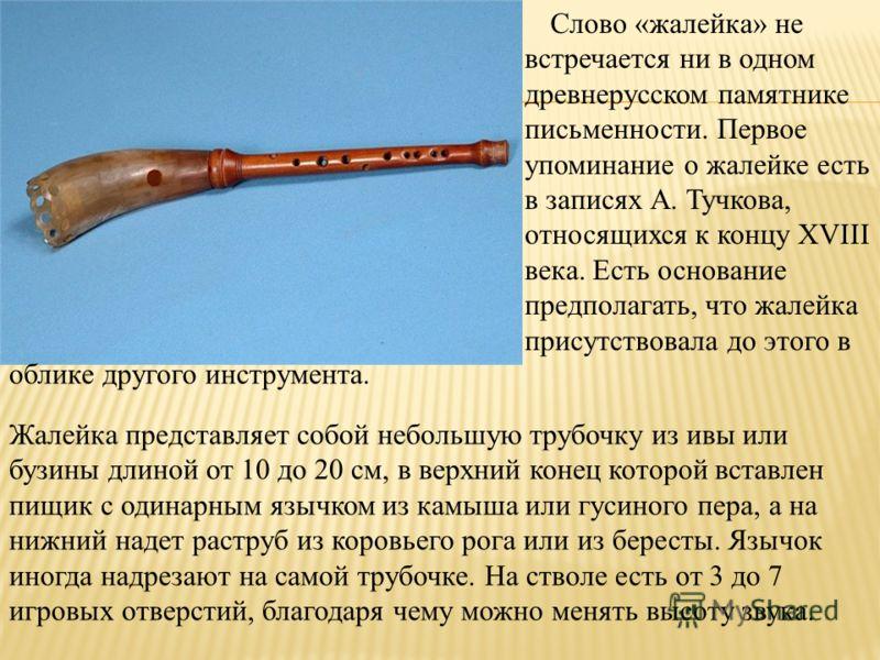 Слово «жалейка» не встречается ни в одном древнерусском памятнике письменности. Первое упоминание о жалейке есть в записях А. Тучкова, относящихся к концу XVIII века. Есть основание предполагать, что жалейка присутствовала до этого в Жалейка представ