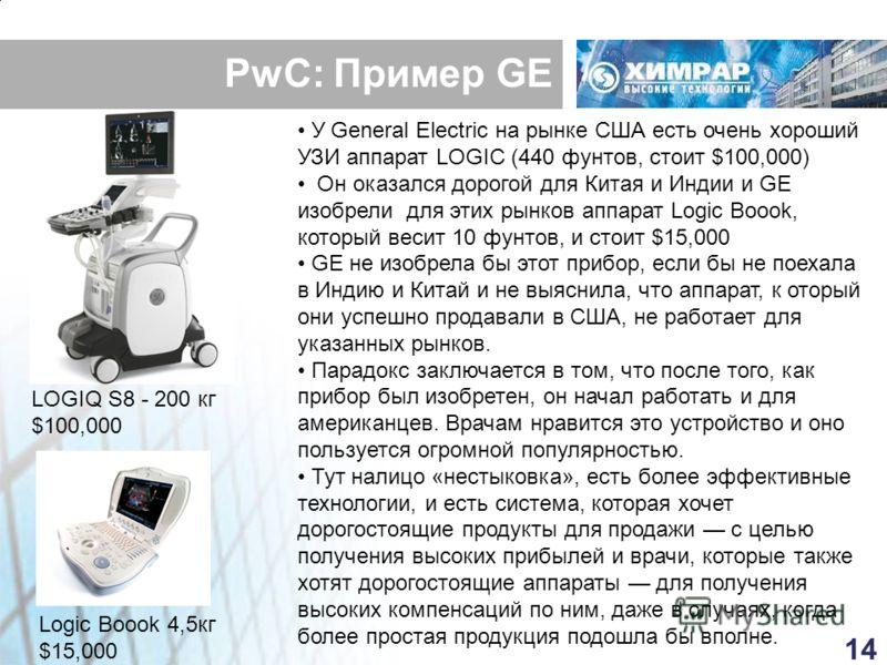 PwC: Пример GE LOGIQ S8 - 200 кг $100,000 Logic Boook 4,5кг $15,000 У General Electric на рынке США есть очень хороший УЗИ аппарат LOGIC (440 фунтов, стоит $100,000) Он оказался дорогой для Китая и Индии и GE изобрели для этих рынков аппарат Logic Bo