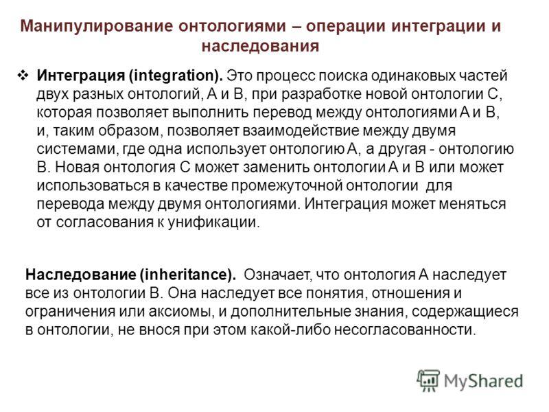 Манипулирование онтологиями – операции интеграции и наследования Интеграция (integration). Это процесс поиска одинаковых частей двух разных онтологий, A и B, при разработке новой онтологии C, которая позволяет выполнить перевод между онтологиями A и