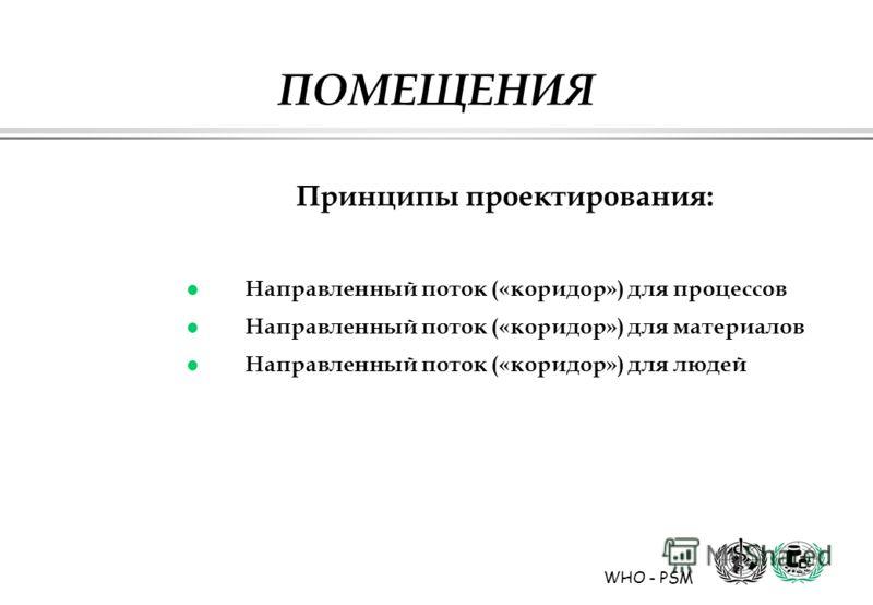 WHO - PSM ПОМЕЩЕНИЯ Принципы проектирования: l Направленный поток («коридор») для процессов l Направленный поток («коридор») для материалов l Направленный поток («коридор») для людей