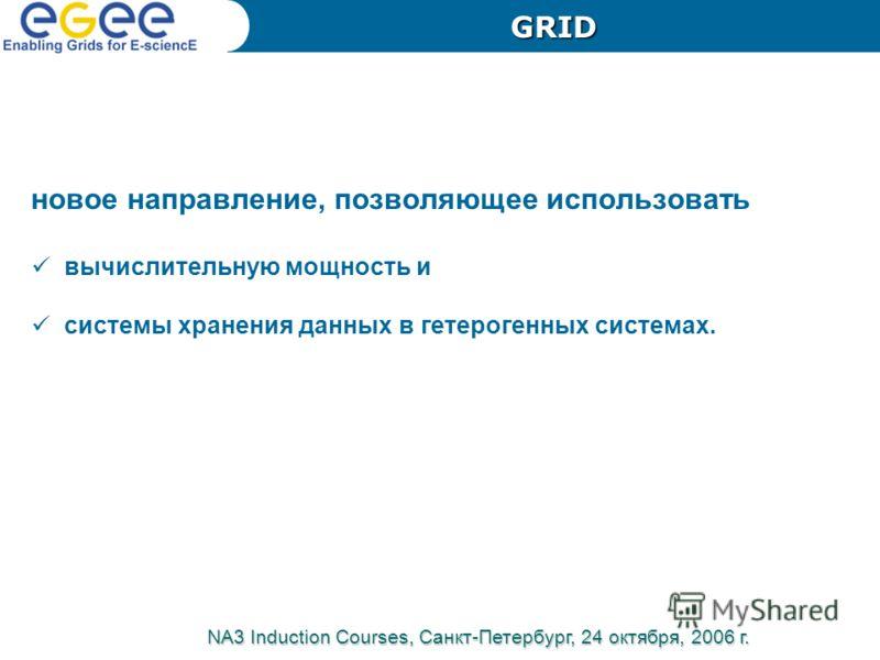 новое направление, позволяющее использовать вычислительную мощность и системы хранения данных в гетерогенных системах. NA3 Induction Courses, Санкт-Петербург, 24 октября, 2006 г. GRID