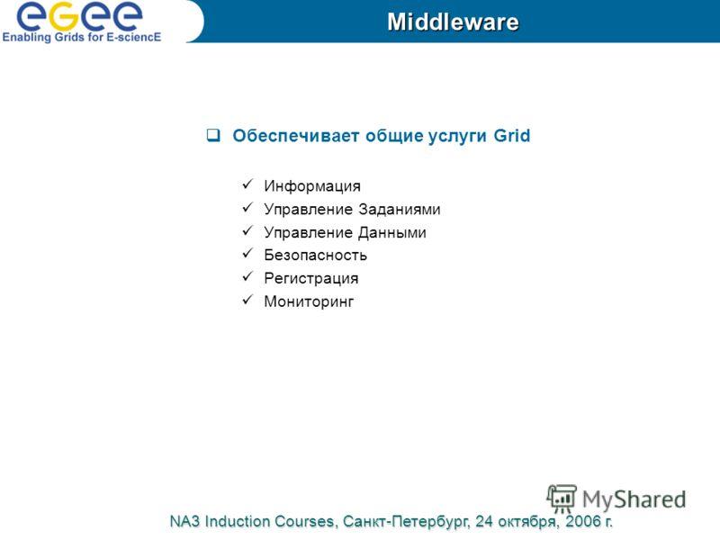 Обеспечивает общие услуги Grid Информация Управление Заданиями Управление Данными Безопасность Регистрация Мониторинг NA3 Induction Courses, Санкт-Петербург, 24 октября, 2006 г. Middleware