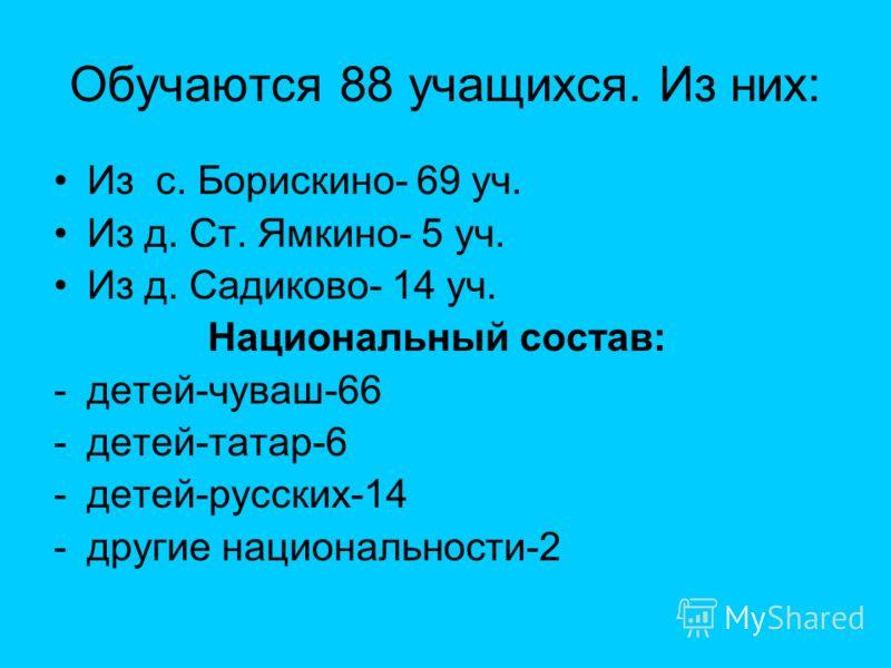 Обучаются 88 учащихся. Из них: Из с. Борискино- 69 уч. Из д. Ст. Ямкино- 5 уч. Из д. Садиково- 14 уч. Национальный состав: -детей-чуваш-66 -детей-татар-6 -детей-русских-14 -другие национальности-2