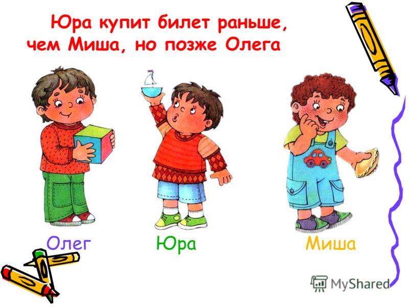 Юра купит билет раньше, чем Миша, но позже Олега Олег Юра Миша