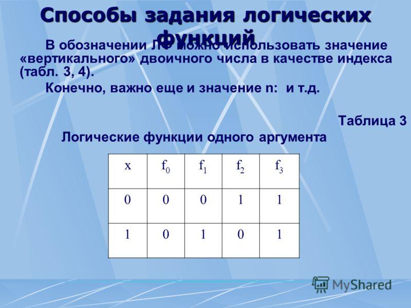 Способы задания логических функций В обозначении ЛФ можно использовать значение «вертикального» двоичного числа в качестве индекса (табл. 3, 4). Конечно, важно еще и значение n: и т.д. Таблица 3 Логические функции одного аргумента хf0f0 f1f1 f2f2 f3f