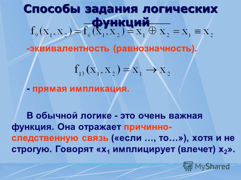 Способы задания логических функций -эквивалентность (равнозначность). - прямая импликация. В обычной логике - это очень важная функция. Она отражает причинно- следственную связь («если …, то…»), хотя и не строгую. Говорят «х 1 имплицирует (влечет) х