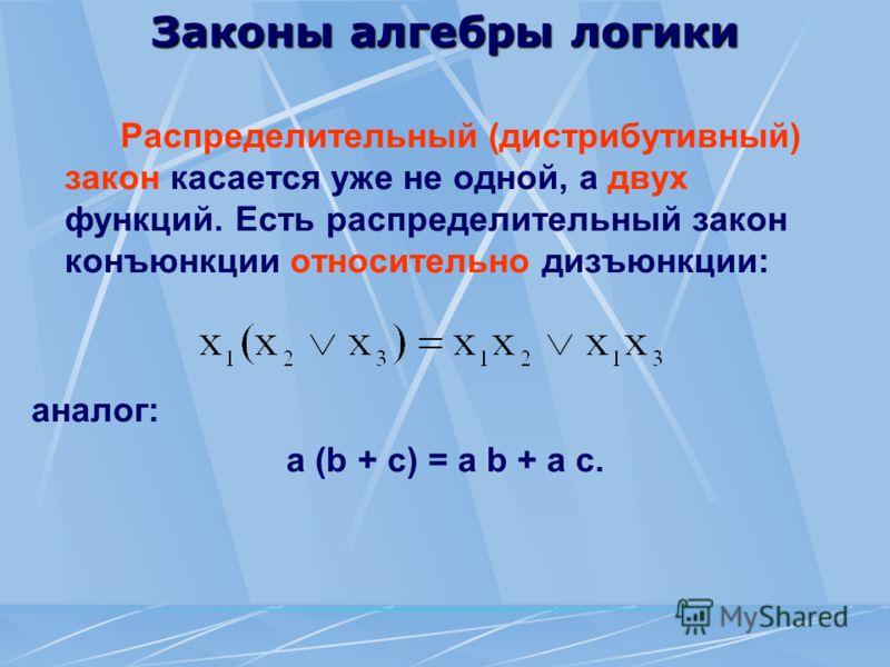 Законы алгебры логики Распределительный (дистрибутивный) закон касается уже не одной, а двух функций. Есть распределительный закон конъюнкции относительно дизъюнкции: аналог: а (b + с) = а b + а с.