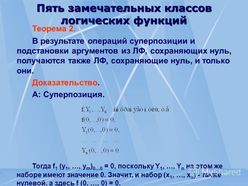 Пять замечательных классов логических функций Теорема 2. В результате операций суперпозиции и подстановки аргументов из ЛФ, сохраняющих нуль, получаются также ЛФ, сохраняющие нуль, и только они. Доказательство. А: Суперпозиция. Тогда f 1 (у 1, …, у m
