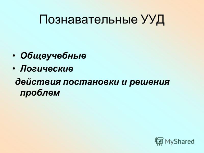 Познавательные УУД Общеучебные Логические действия постановки и решения проблем