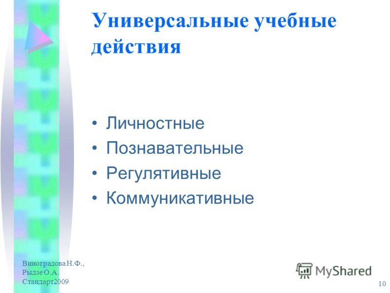 Виноградова Н.Ф., Рыдзе О.А. Стандарт2009 10 Универсальные учебные действия Личностные Познавательные Регулятивные Коммуникативные