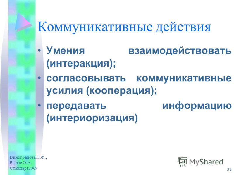Виноградова Н.Ф., Рыдзе О.А. Стандарт2009 32 Коммуникативные действия Умения взаимодействовать (интеракция); согласовывать коммуникативные усилия (кооперация); передавать информацию (интериоризация)