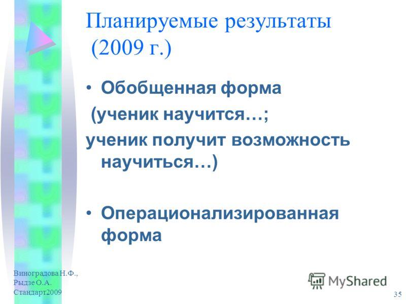 Виноградова Н.Ф., Рыдзе О.А. Стандарт2009 35 Планируемые результаты (2009 г.) Обобщенная форма (ученик научится…; ученик получит возможность научиться…) Операционализированная форма