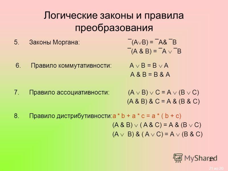 21 из 20 21 Логические законы и правила преобразования 5.Законы Моргана:¯(А В) = ¯А& ¯В ¯(А & В) = ¯А ¯В 6.Правило коммутативности:А В = В А А & В = В & А 7.Правило ассоциативности:(А В) С = А (В С) (А & В) & С = А & (В & С) 8.Правило дистрибутивност