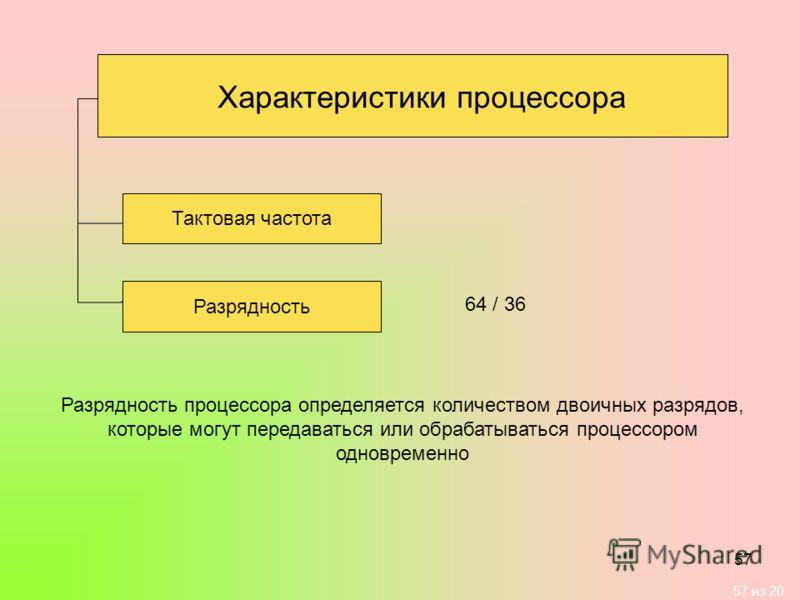 57 из 20 57 Разрядность Разрядность процессора определяется количеством двоичных разрядов, которые могут передаваться или обрабатываться процессором одновременно Характеристики процессора Тактовая частота 64 / 36
