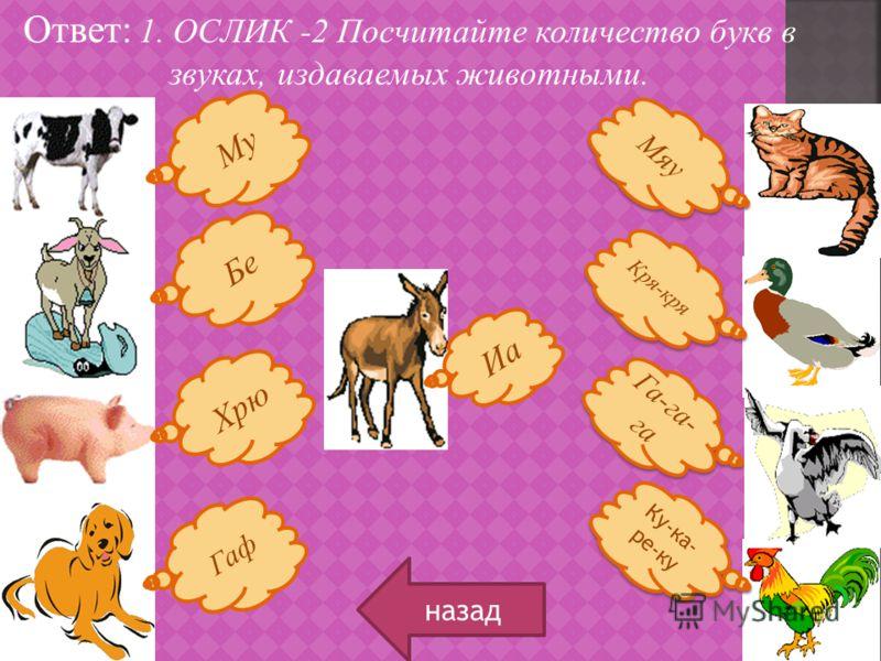Ответ: 1. ОСЛИК -2 Посчитайте количество букв в звуках, издаваемых животными. назад Му Бе Хрю Гаф Кря-кря Ку-ка- ре-ку Га-га- га Мяу Иа