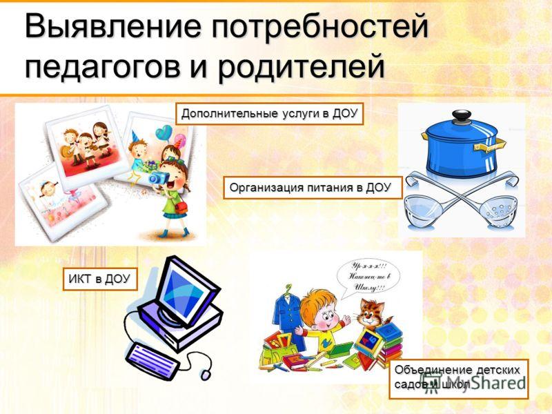 Выявление потребностей педагогов и родителей ИКТ в ДОУ Дополнительные услуги в ДОУ Организация питания в ДОУ Объединение детских садов и школ