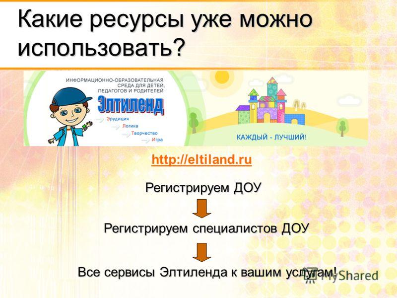 Какие ресурсы уже можно использовать? http://eltiland.ru Регистрируем ДОУ Регистрируем специалистов ДОУ Все сервисы Элтиленда к вашим услугам!