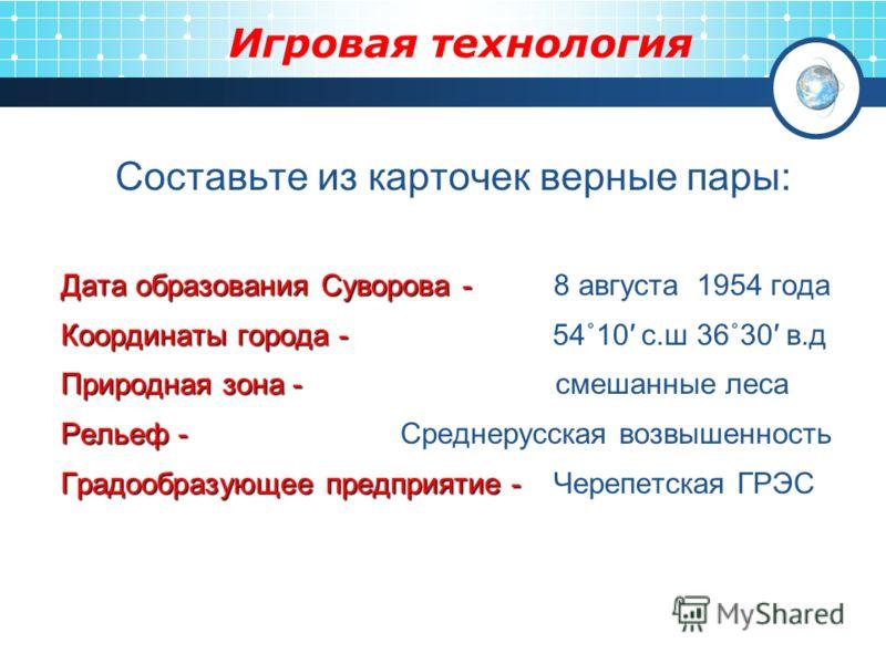 Игровая технология Составьте из карточек верные пары: Дата образования Суворова - Дата образования Суворова - 8 августа 1954 года Координаты города - Координаты города - 54˚10 с.ш 36˚30 в.д Природная зона - Природная зона - смешанные леса Рельеф - Ре