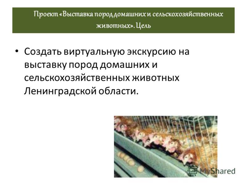 Проект «Выставка пород домашних и сельскохозяйственных животных». Цель Создать виртуальную экскурсию на выставку пород домашних и сельскохозяйственных животных Ленинградской области.