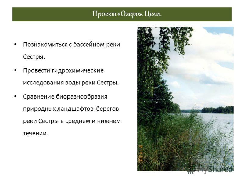 Проект «Озеро». Цели. Познакомиться с бассейном реки Сестры. Провести гидрохимические исследования воды реки Сестры. Сравнение биоразнообразия природных ландшафтов берегов реки Сестры в среднем и нижнем течении.