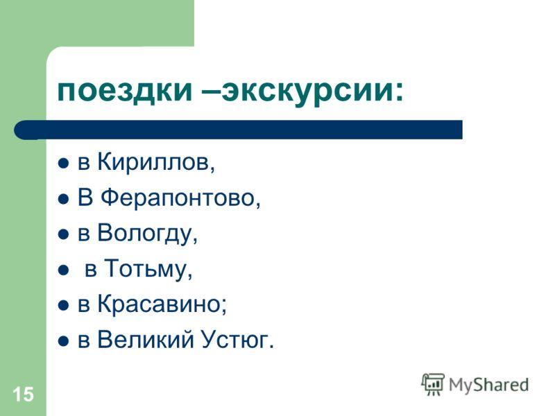 15 поездки –экскурсии: в Кириллов, В Ферапонтово, в Вологду, в Тотьму, в Красавино; в Великий Устюг.