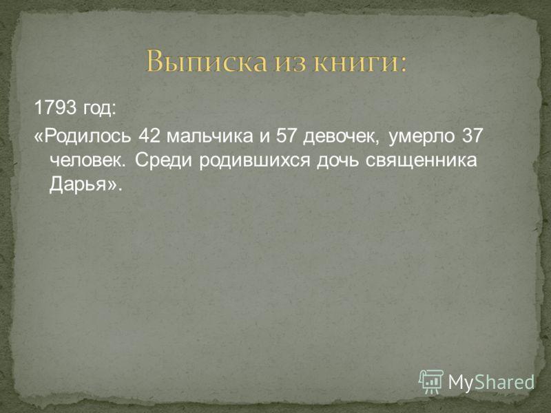 1793 год: «Родилось 42 мальчика и 57 девочек, умерло 37 человек. Среди родившихся дочь священника Дарья».