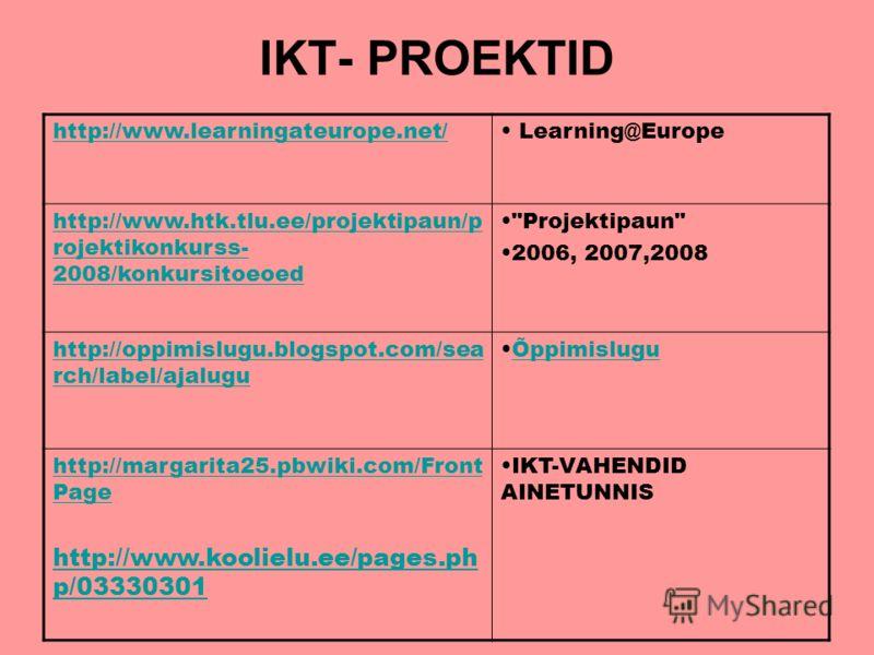 IKT- PROEKTID http://www.learningateurope.net/ Learning@Europe http://www.htk.tlu.ee/projektipaun/p rojektikonkurss- 2008/konkursitoeoed
