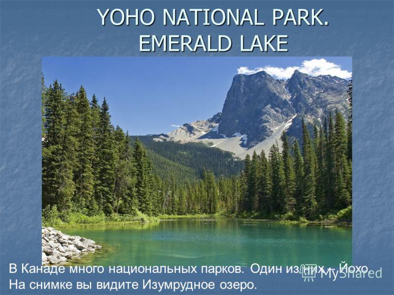 YOHO NATIONAL PARK. EMERALD LAKE В Канаде много национальных парков. Один из них – Йохо. На снимке вы видите Изумрудное озеро.