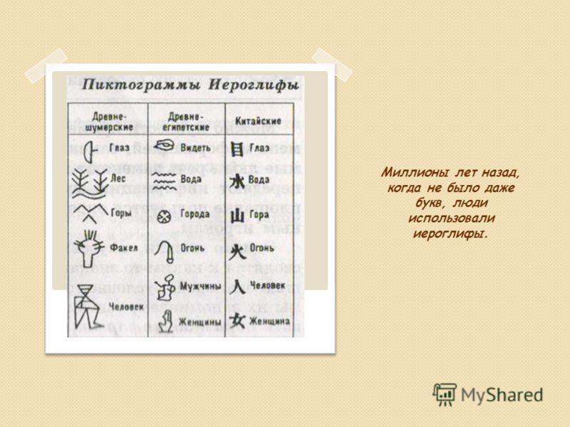Миллионы лет назад, когда не было даже букв, люди использовали иероглифы.