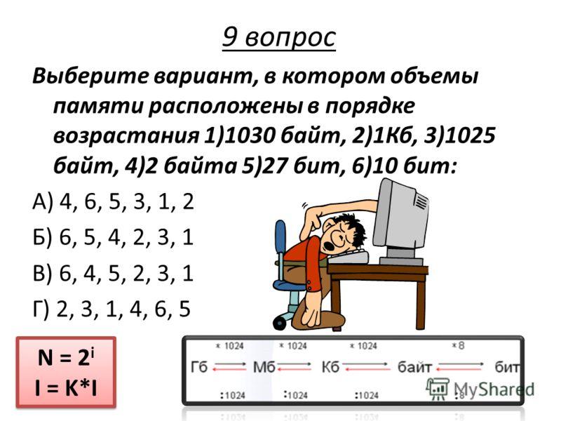 Выберите вариант, в котором объемы памяти расположены в порядке возрастания 1)1030 байт, 2)1Кб, 3)1025 байт, 4)2 байта 5)27 бит, 6)10 бит: А) 4, 6, 5, 3, 1, 2 Б) 6, 5, 4, 2, 3, 1 В) 6, 4, 5, 2, 3, 1 Г) 2, 3, 1, 4, 6, 5 N = 2 i I = K*I N = 2 i I = K*I