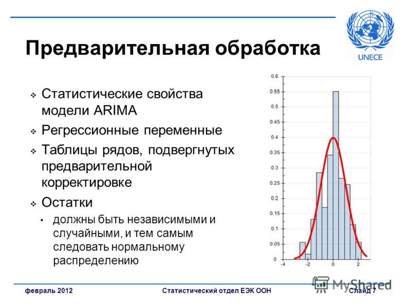 Статистический отдел ЕЭК ООН Слайд 7февраль 2012 Предварительная обработка Статистические свойства модели ARIMA Регрессионные переменные Таблицы рядов, подвергнутых предварительной корректировке Остатки должны быть независимыми и случайными, и тем са
