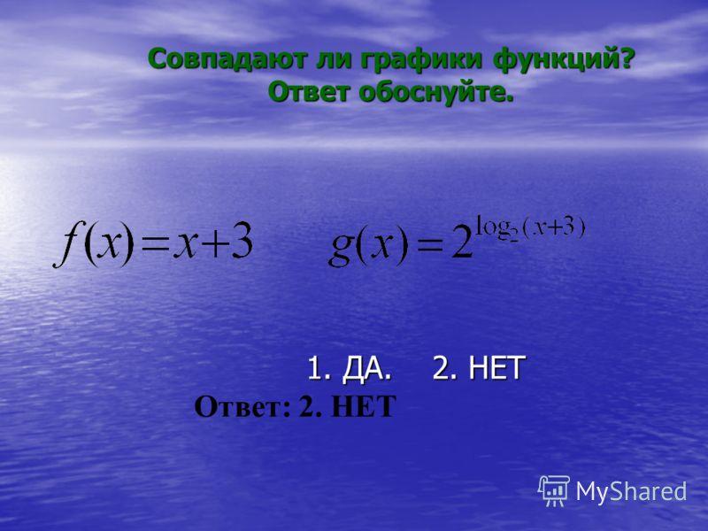Совпадают ли графики функций? Ответ обоснуйте. 1. ДА. 2. НЕТ 1. ДА. 2. НЕТ Ответ: 2. НЕТ