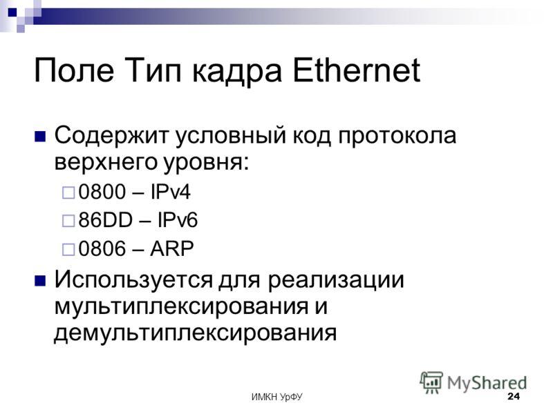 ИМКН УрФУ24 Поле Тип кадра Ethernet Содержит условный код протокола верхнего уровня: 0800 – IPv4 86DD – IPv6 0806 – ARP Используется для реализации мультиплексирования и демультиплексирования