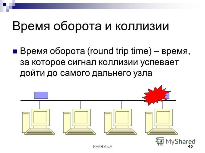 ИМКН УрФУ40 Время оборота и коллизии Время оборота (round trip time) – время, за которое сигнал коллизии успевает дойти до самого дальнего узла