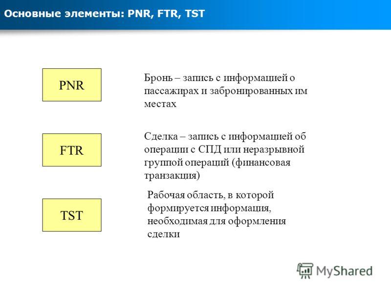 Основные элементы: PNR, FTR, TST PNR Бронь – запись с информацией о пассажирах и забронированных им местах FTR Сделка – запись с информацией об операции с СПД или неразрывной группой операций (финансовая транзакция) TST Рабочая область, в которой фор
