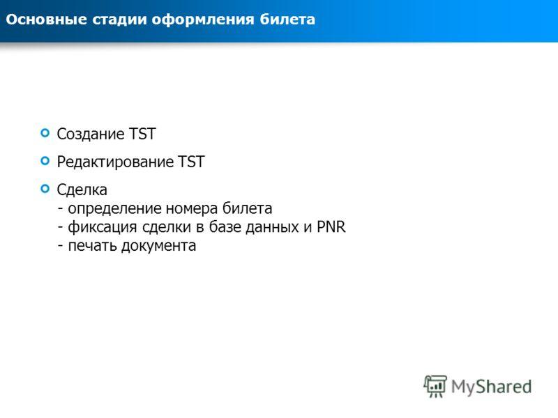Основные стадии оформления билета Создание TST Редактирование TST Сделка - определение номера билета - фиксация сделки в базе данных и PNR - печать документа