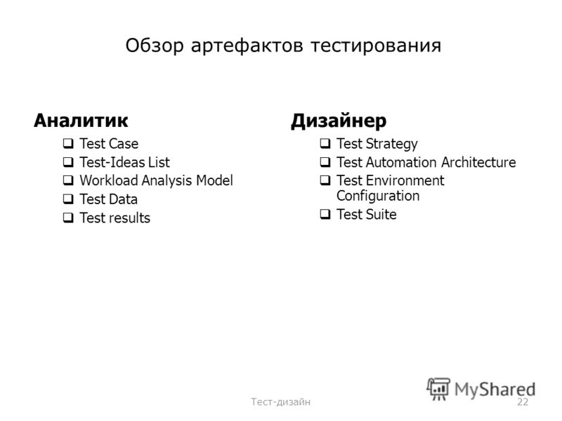 Обзор артефактов тестирования Аналитик Test Case Test-Ideas List Workload Analysis Model Test Data Test results Дизайнер Test Strategy Test Automation Architecture Test Environment Configuration Test Suite Тест-дизайн22