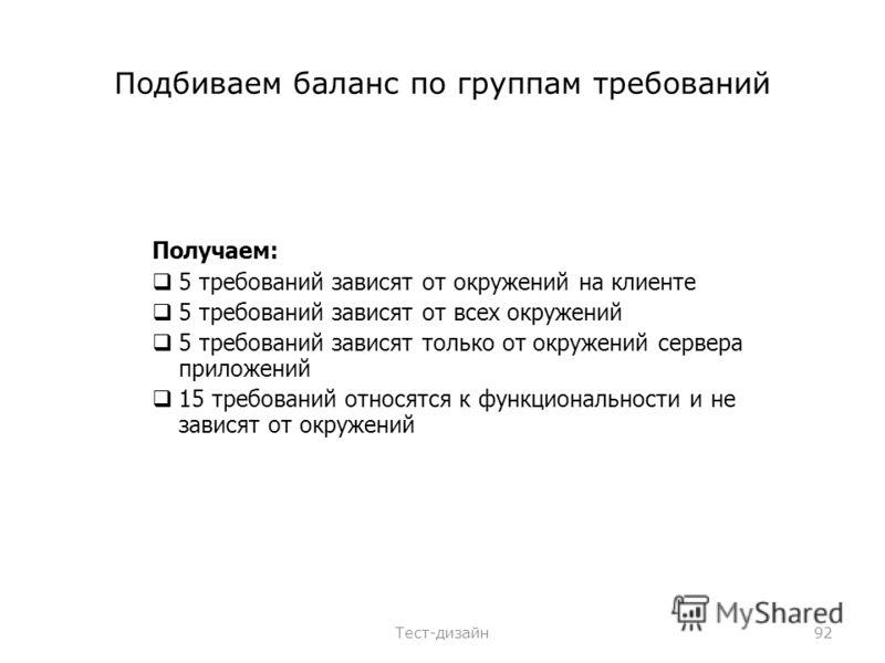 Подбиваем баланс по группам требований Получаем: 5 требований зависят от окружений на клиенте 5 требований зависят от всех окружений 5 требований зависят только от окружений сервера приложений 15 требований относятся к функциональности и не зависят о
