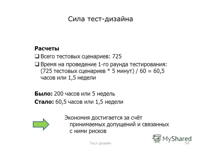 Сила тест-дизайна Расчеты Всего тестовых сценариев: 725 Время на проведение 1-го раунда тестирования: (725 тестовых сценариев * 5 минут) / 60 = 60,5 часов или 1,5 недели Было: 200 часов или 5 недель Стало: 60,5 часов или 1,5 недели Экономия достигает
