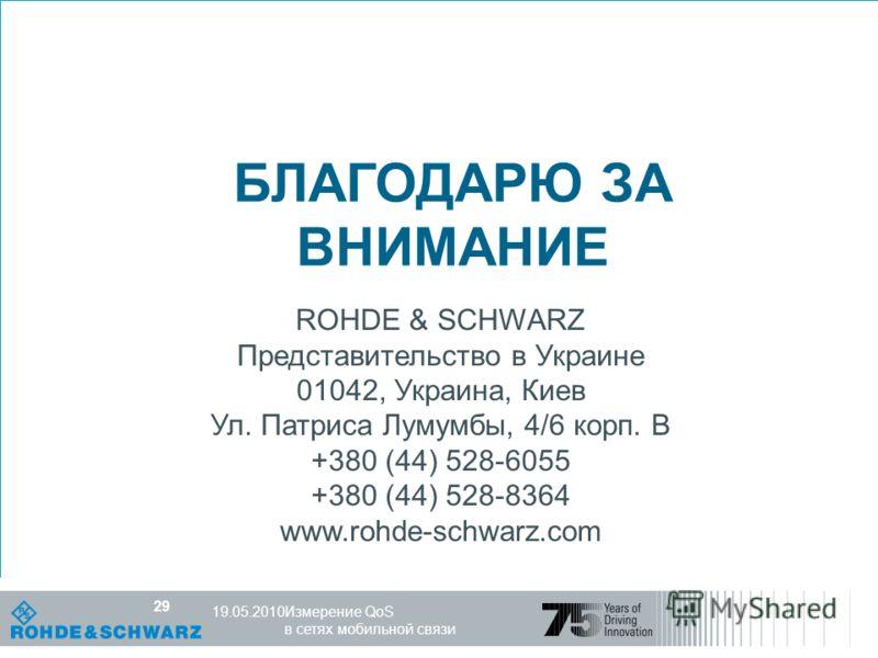 Компетентность в мире радио R&S, 25.10.07 29 Измерение QoS в сетях мобильной связи 19.05.2010 29 БЛАГОДАРЮ ЗА ВНИМАНИЕ ROHDE & SCHWARZ Представительство в Украине 01042, Украина, Киев Ул. Патриса Лумумбы, 4/6 корп. B +380 (44) 528-6055 +380 (44) 528-